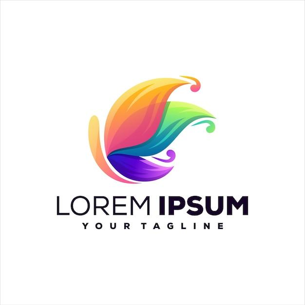 Design de logotipo em gradiente de borboleta