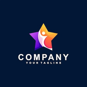 Design de logotipo em gradiente de cor de estrela Vetor Premium