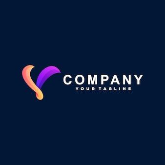 Design de logotipo em gradiente de letra v