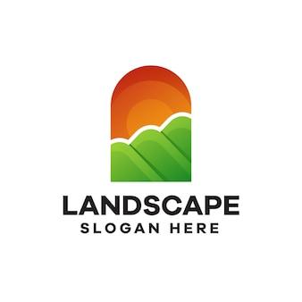 Design de logotipo em gradiente de paisagem