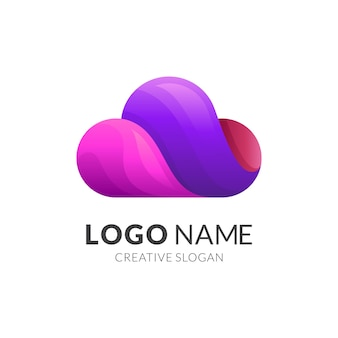 Design de logotipo em nuvem com estilo colorido 3d