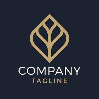 Design de logotipo em ouro natural elegante de folha monoline de luxo