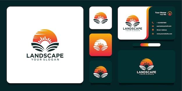 Design de logotipo em paisagem e cartão de visita