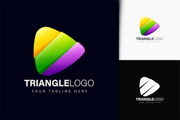 Design de logotipo em triângulo com gradiente