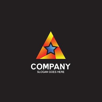 Design de logotipo em triângulo e estrela
