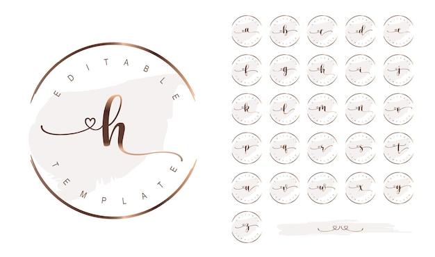 Design de logotipo empresarial com assinatura feminina, letras do alfabeto em ouro rosa e moldura redonda
