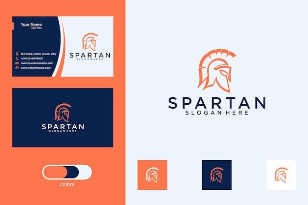 Design de logotipo espartano e cartão de visita