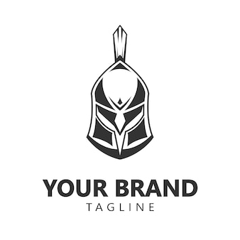 Design de logotipo espartano guerreiro capacete