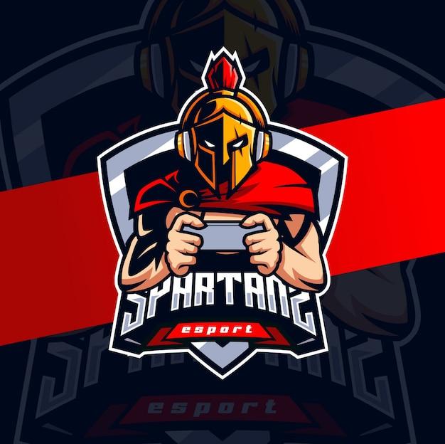 Design de logotipo espartano jogador móvel mascote esport