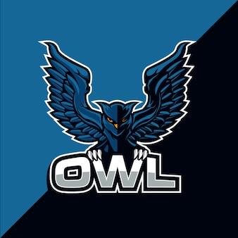 Design de logotipo esport coruja pássaro mascote
