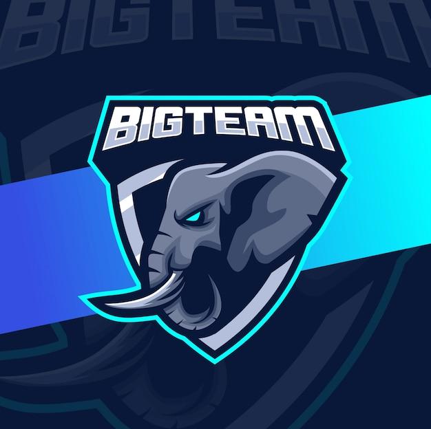 Design de logotipo esport de mascote de elefante