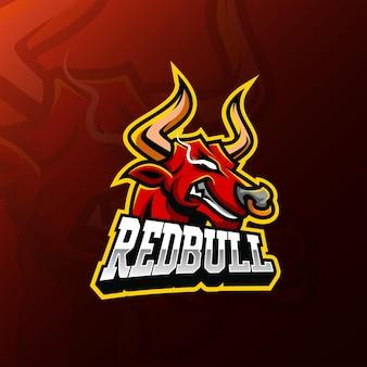 Design de logotipo esport do mascote cabeça de touro vermelho furioso