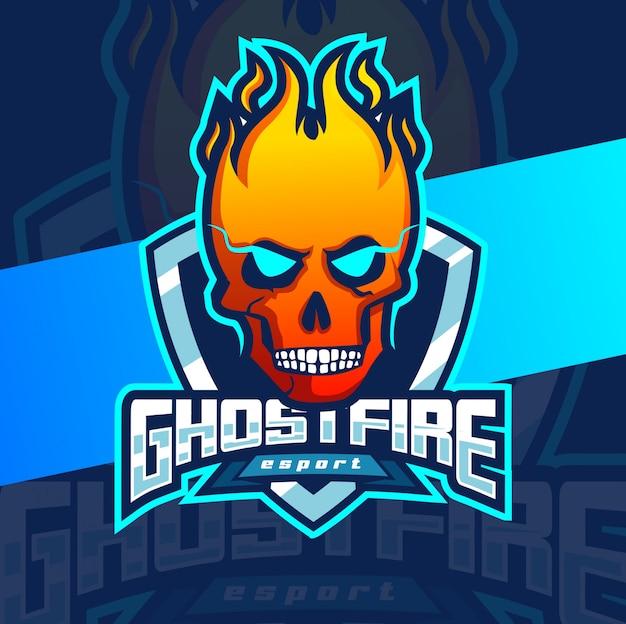 Design de logotipo esport fantasma mascote fogo
