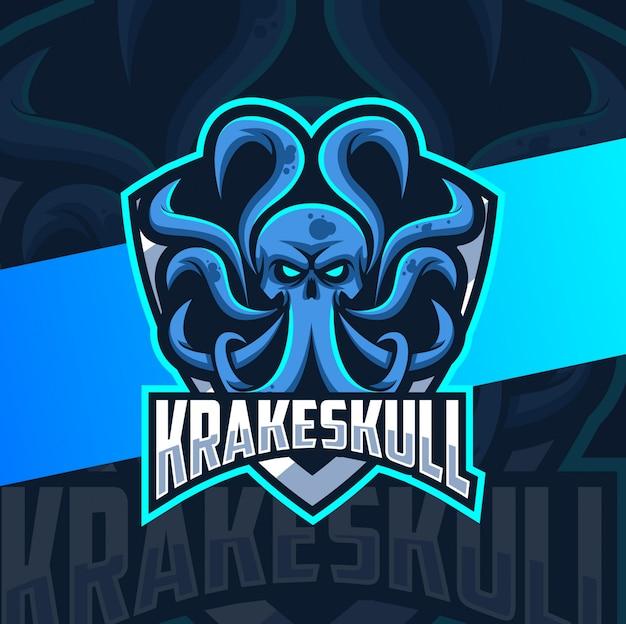 Design de logotipo esport kraken crânio mascote