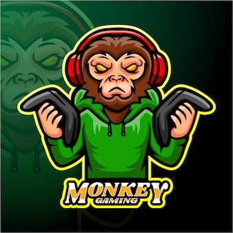 Design de logotipo esport macaco de jogos