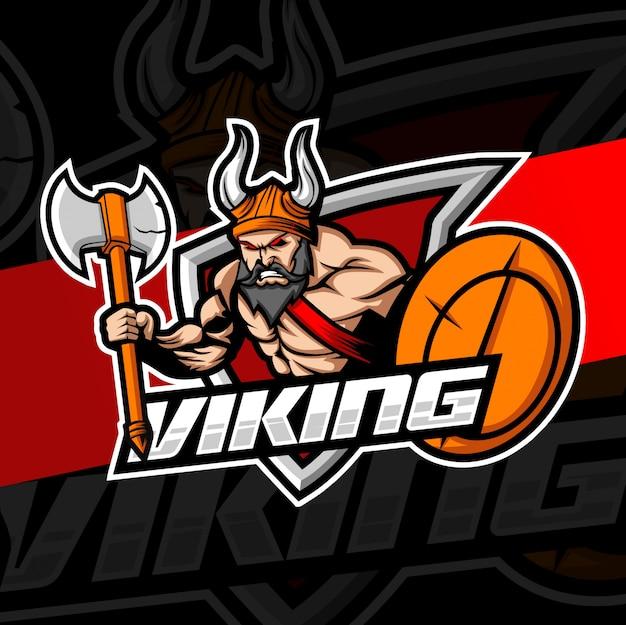 Design de logotipo esport mascot viking
