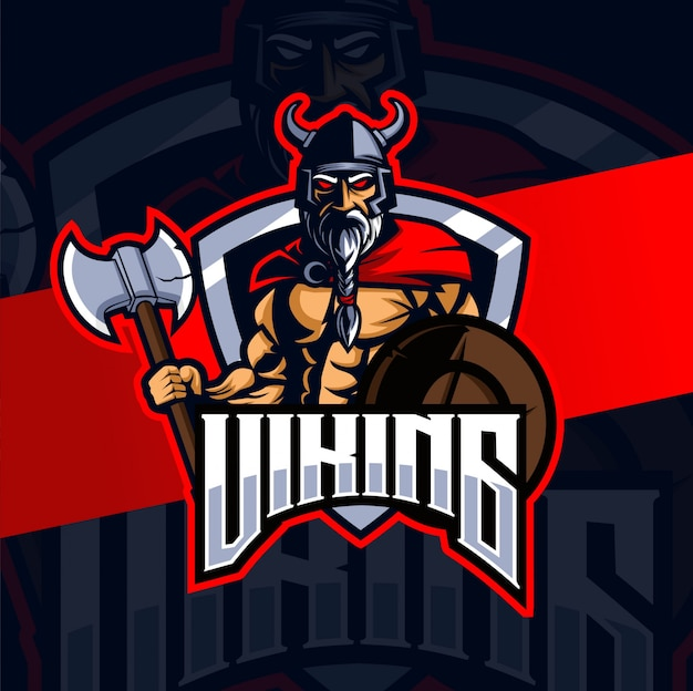 Design de logotipo esport mascot viking