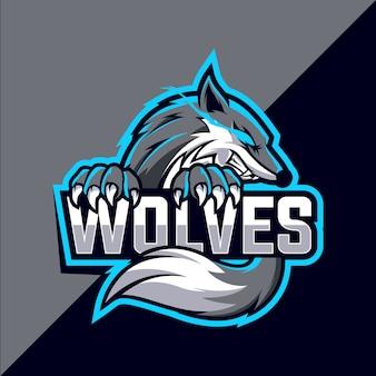 Design de logotipo esport mascote lobos