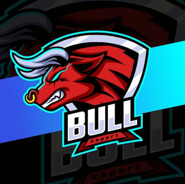 Design de logotipo esport mascote touro