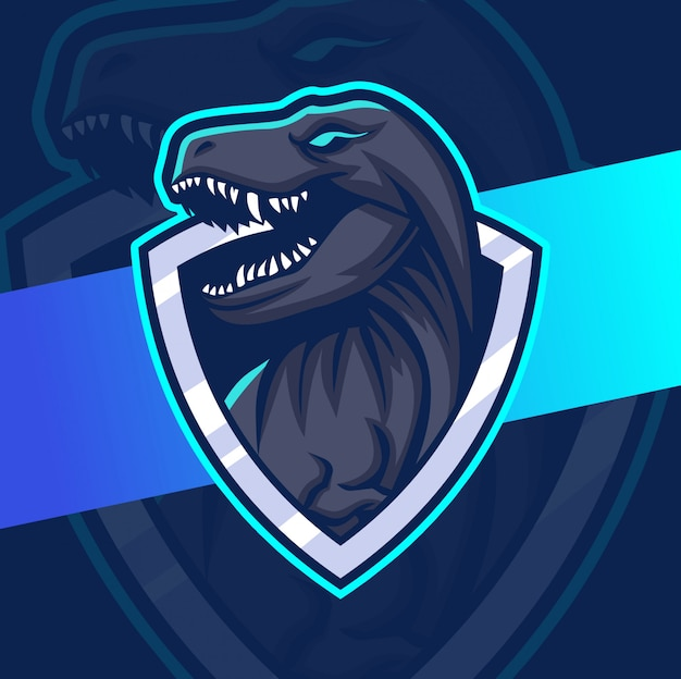 Design de logotipo esport mascote trex