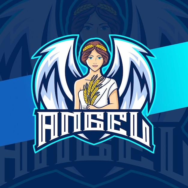 Design de logotipo esport mulher mascote anjo