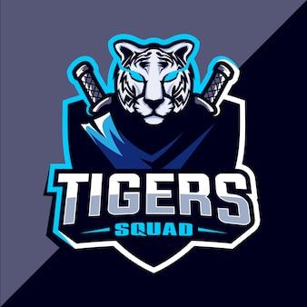 Design de logotipo esport tigre mascote