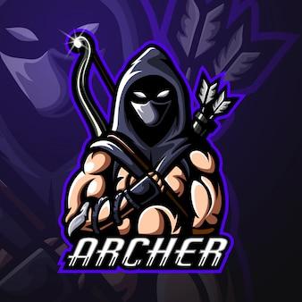 Design de logotipo esportista mascote arqueiro