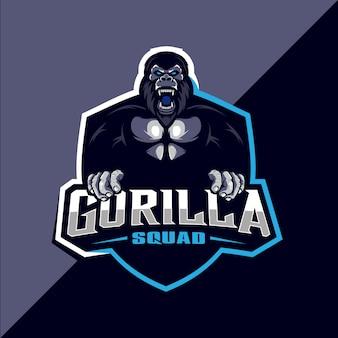 Design de logotipo esportivo de esquadrão de gorila