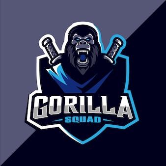 Design de logotipo esportivo de mascote gorila zangado