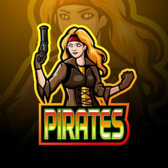 Design de logotipo esportivo do mascote da menina piratas