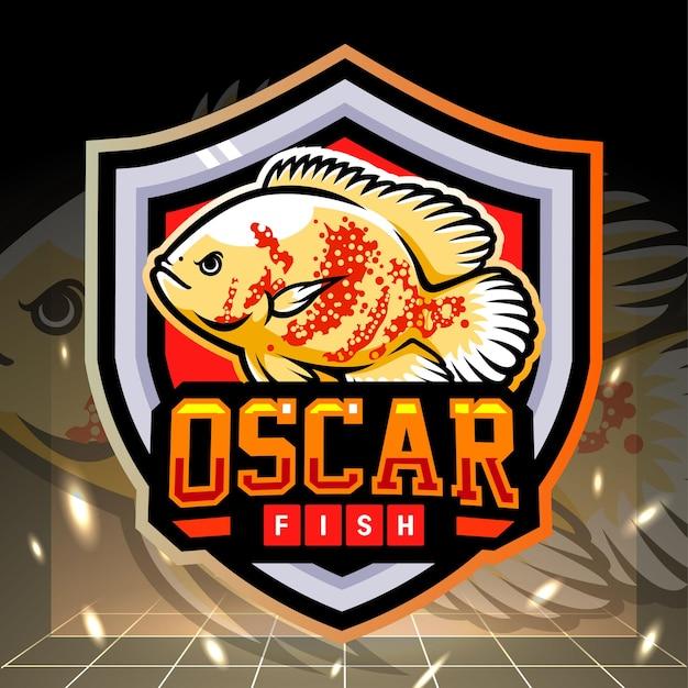 Design de logotipo esportivo do mascote de peixe branco oscar