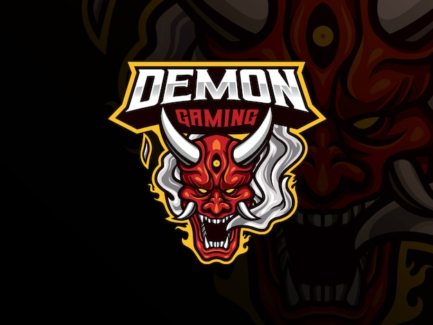 Design de logotipo esportivo do mascote oni demon