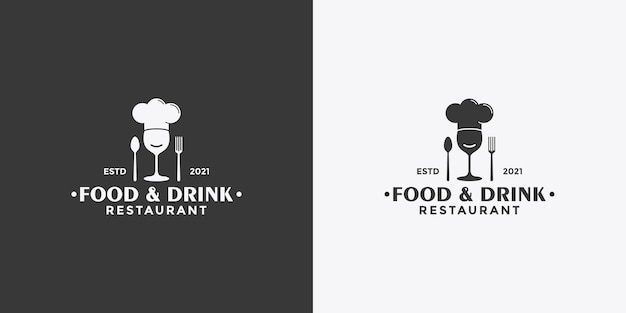 Design de logotipo estilo vintage de comida e bebida simples para seu restaurante