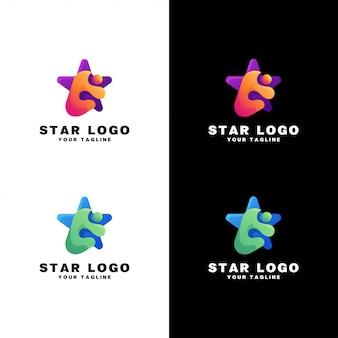 Design de logotipo estrela em fundo branco e escuro