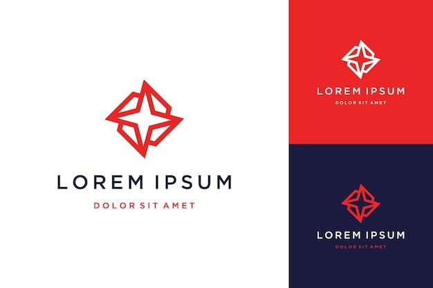 Design de logotipo estrela geometria abstrata com arte de linha