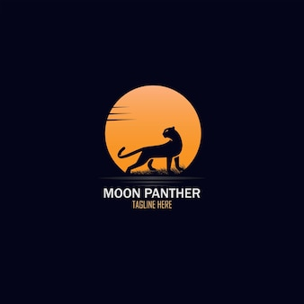 Design de logotipo exótico de lua cheia e pantera