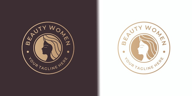Design de logotipo feminino de salão de beleza