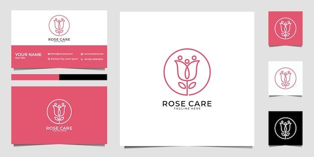 Design de logotipo feminino e cartão de visita rose care