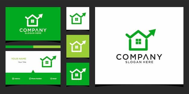 Design de logotipo financeiro para casa com modelo de cartão de negócios