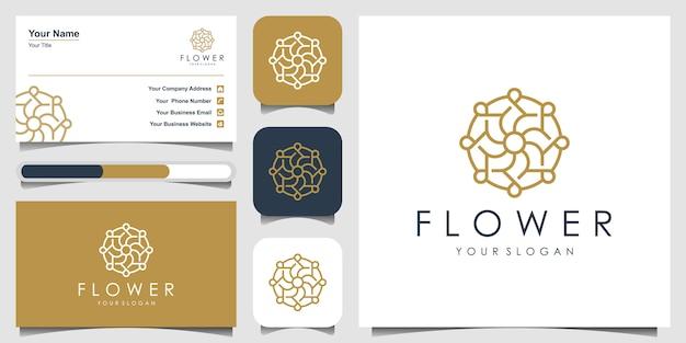 Design de logotipo flor com conceito de arte linha. logotipos podem ser usados para spa, salão de beleza, decoração, boutique. design de logotipo e cartão de visita