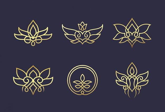 Design de logotipo floral de arte de linha