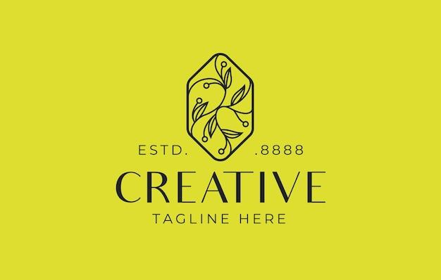 Design de logotipo floral de luxo abstrato ilustração em vetor de design de monoline ornamentado de folha floral