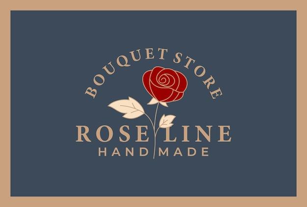 Design de logotipo floral de luxo, flor rosa cor dourada.