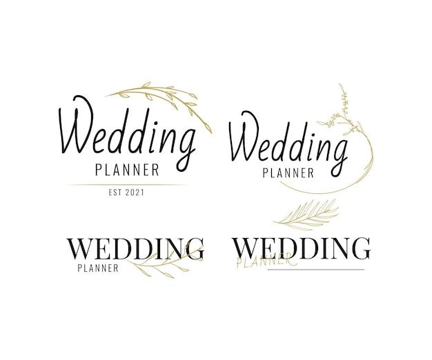 Design de logotipo floral de planejador de casamento com estilo minimalista desenhado à mão