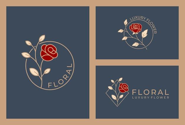 Design de logotipo floral elegante, flor de luxo cor dourada.