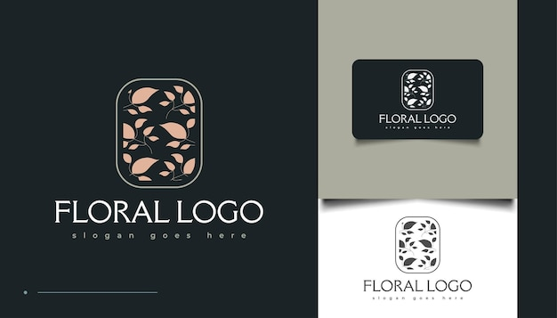 Design de logotipo floral minimalista, para spa, cosméticos, beleza, floristas e moda