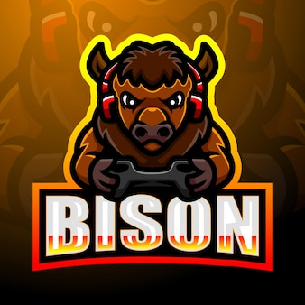 Design de logotipo forte do mascote bison esport