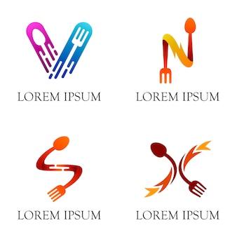 Design de logotipo garfo colher para restaurante de negócios de jantar