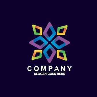 Design de logotipo geométrico de flor colorida