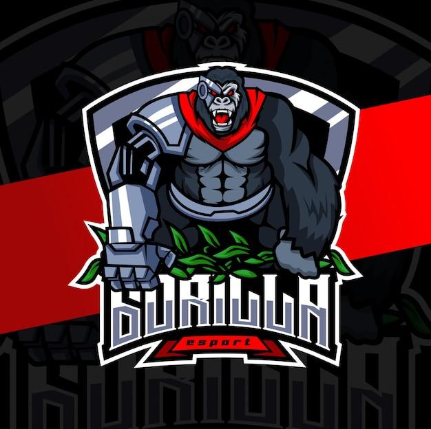 Design de logotipo gorila robô mascote esport